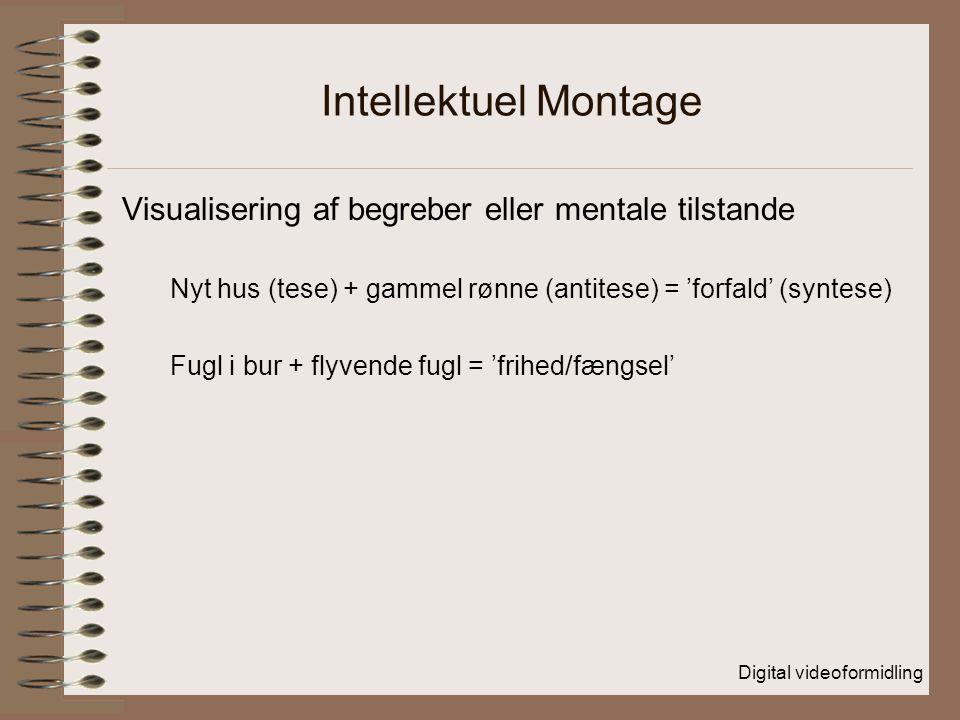 Intellektuel Montage Visualisering af begreber eller mentale tilstande Nyt hus (tese) + gammel rønne (antitese) = 'forfald' (syntese) Fugl i bur + flyvende fugl = 'frihed/fængsel'