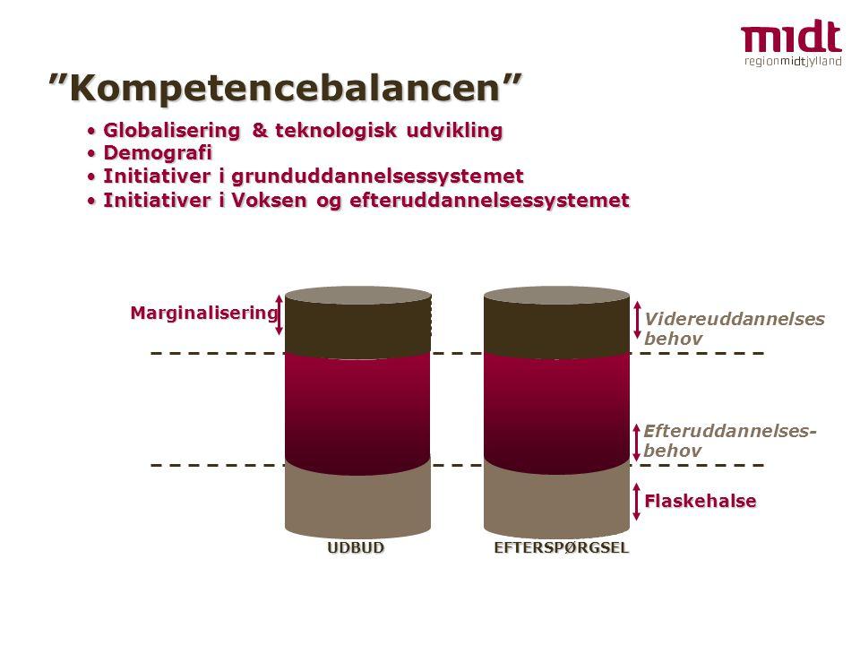 Kompetencebalancen Globalisering & teknologisk udvikling Globalisering & teknologisk udvikling Marginalisering Efteruddannelses- behov UDBUD EFTERSPØRGSEL FlaskehalseVidereuddannelses behov Demografi Demografi Initiativer i grunduddannelsessystemet Initiativer i grunduddannelsessystemet Initiativer i Voksen og efteruddannelsessystemet Initiativer i Voksen og efteruddannelsessystemet