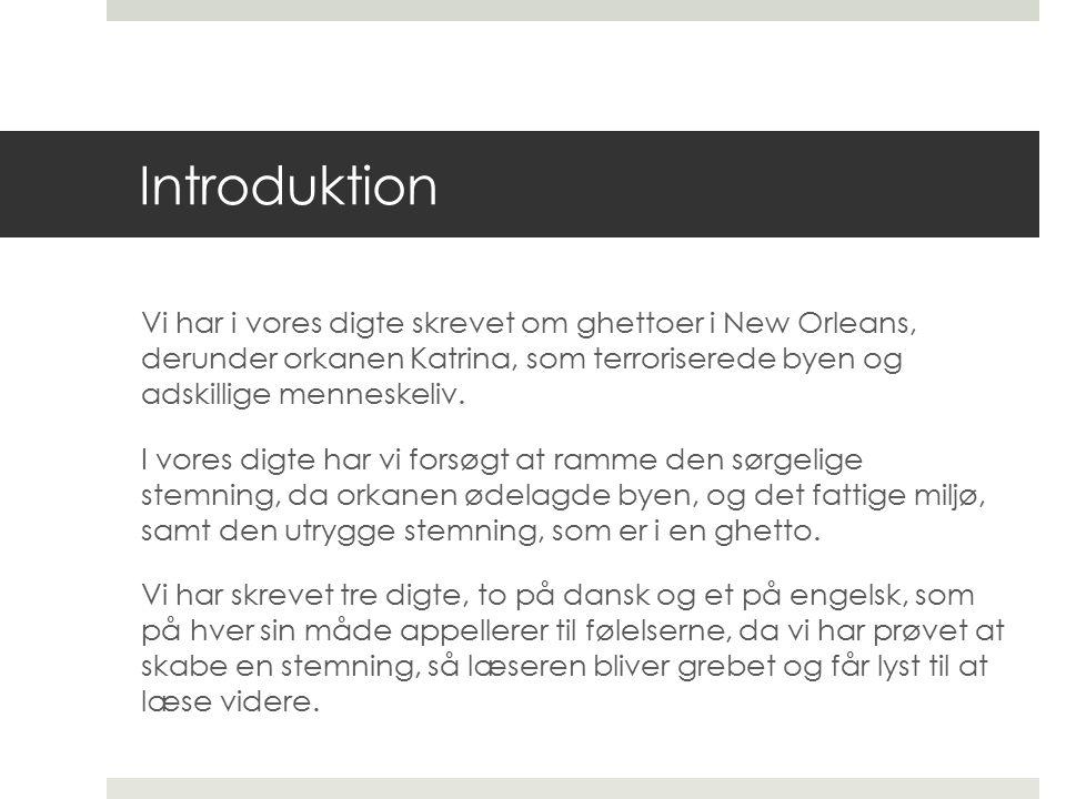 Introduktion Vi har i vores digte skrevet om ghettoer i New Orleans, derunder orkanen Katrina, som terroriserede byen og adskillige menneskeliv.