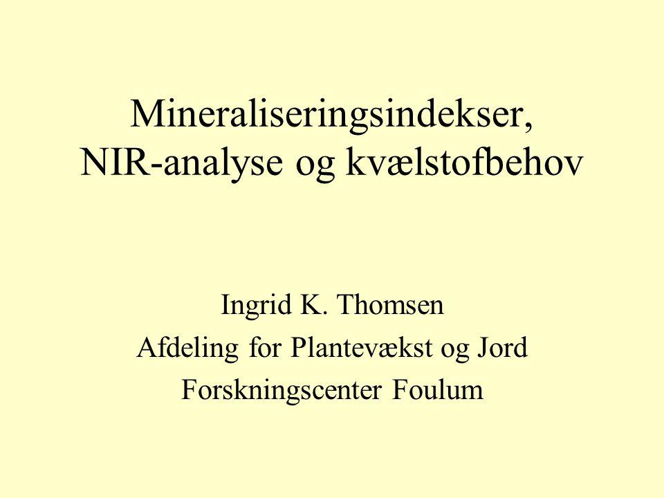 Mineraliseringsindekser, NIR-analyse og kvælstofbehov Ingrid K.