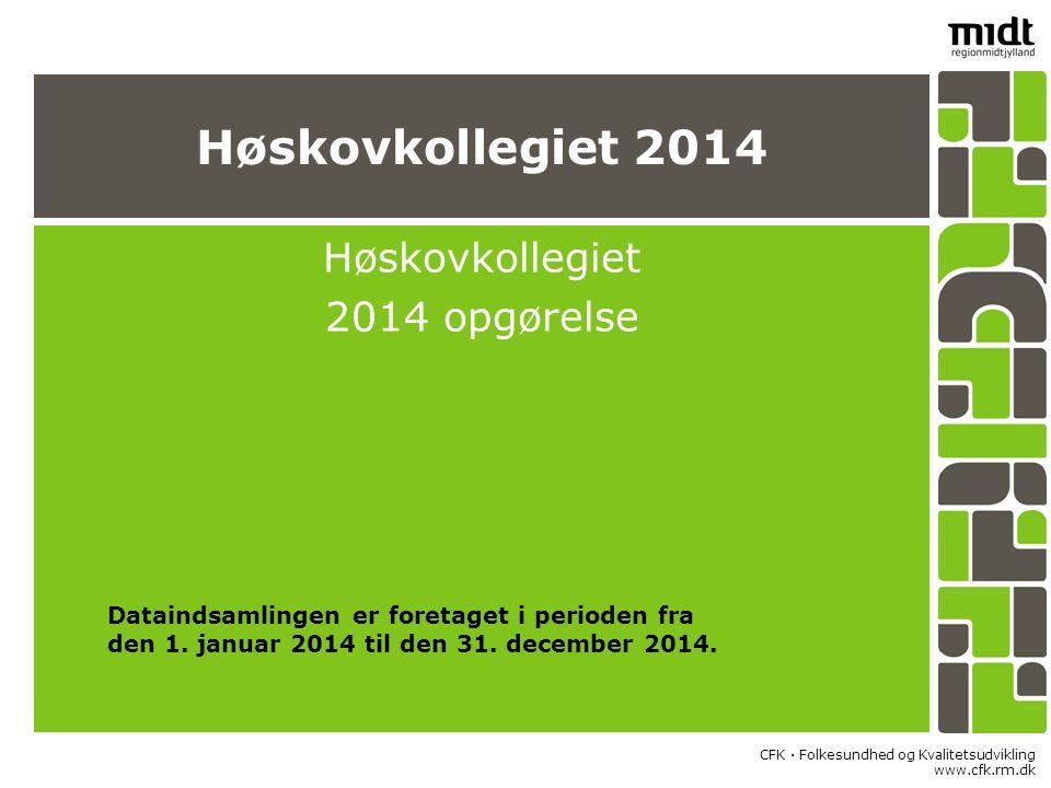 CFK  Folkesundhed og Kvalitetsudvikling www.cfk.rm.dk Høskovkollegiet 2014 Høskovkollegiet 2014 opgørelse Dataindsamlingen er foretaget i perioden fra den 1.