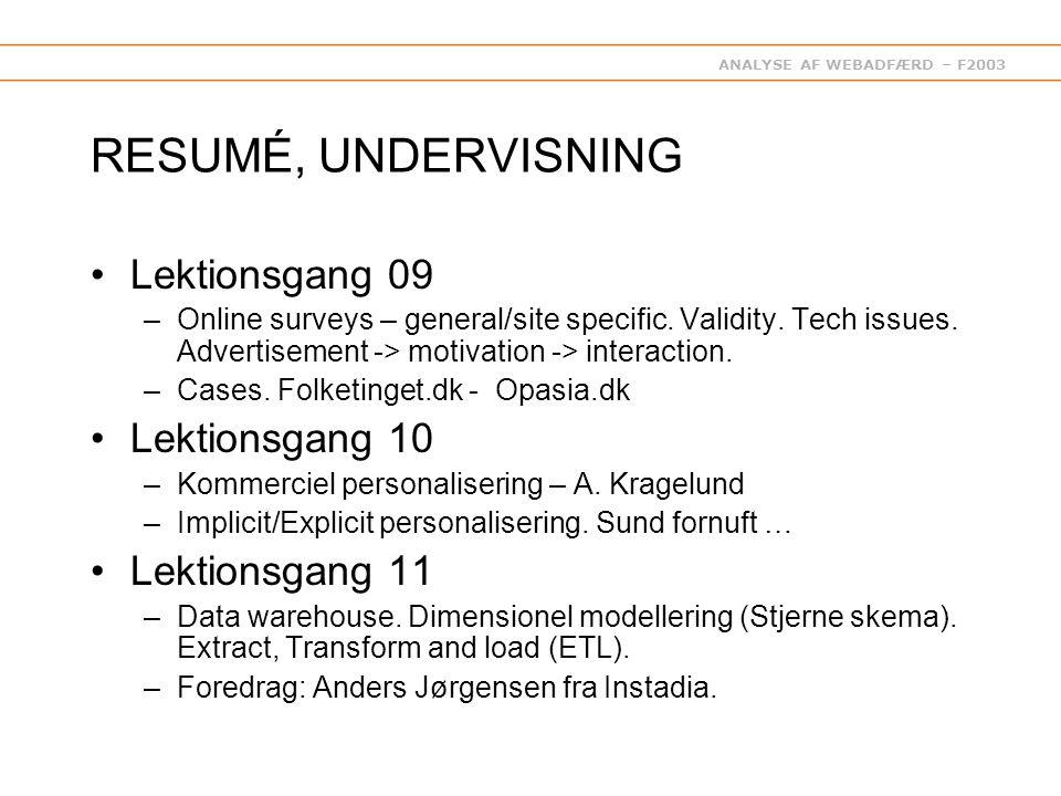 ANALYSE AF WEBADFÆRD – F2003 RESUMÉ, UNDERVISNING Lektionsgang 09 –Online surveys – general/site specific.