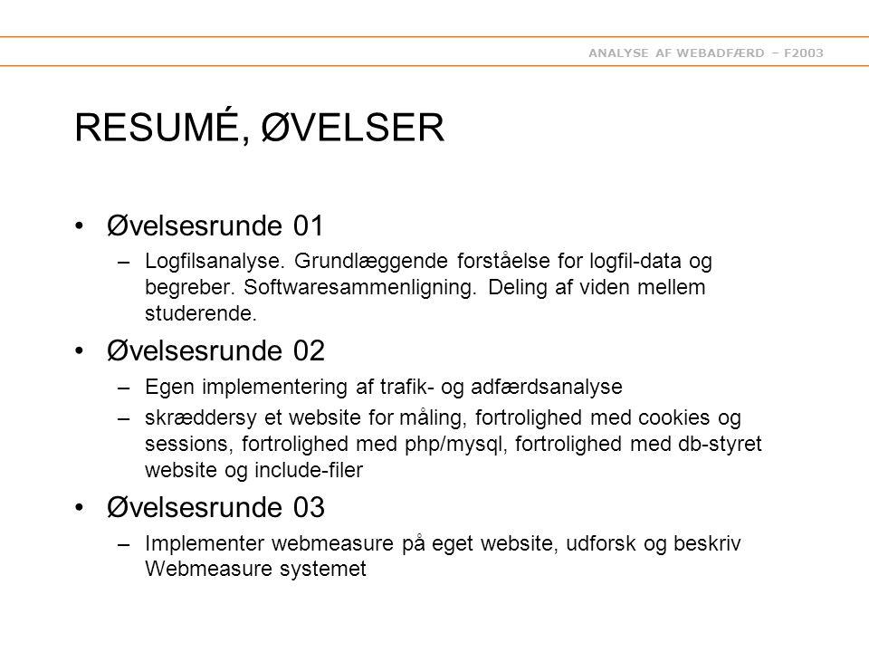 ANALYSE AF WEBADFÆRD – F2003 RESUMÉ, ØVELSER Øvelsesrunde 01 –Logfilsanalyse.