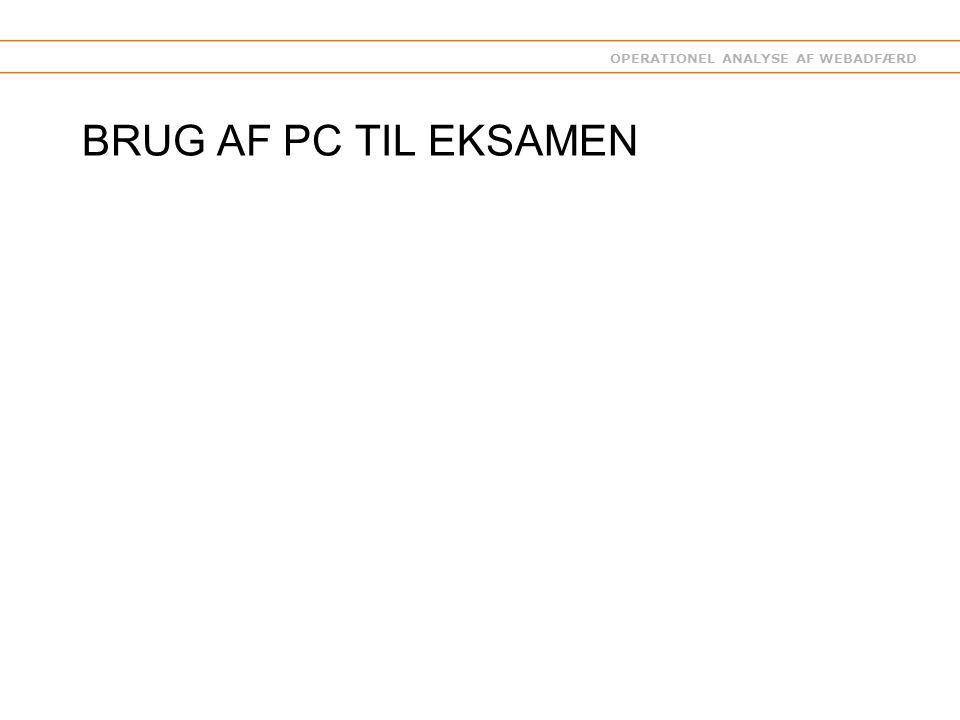 OPERATIONEL ANALYSE AF WEBADFÆRD BRUG AF PC TIL EKSAMEN
