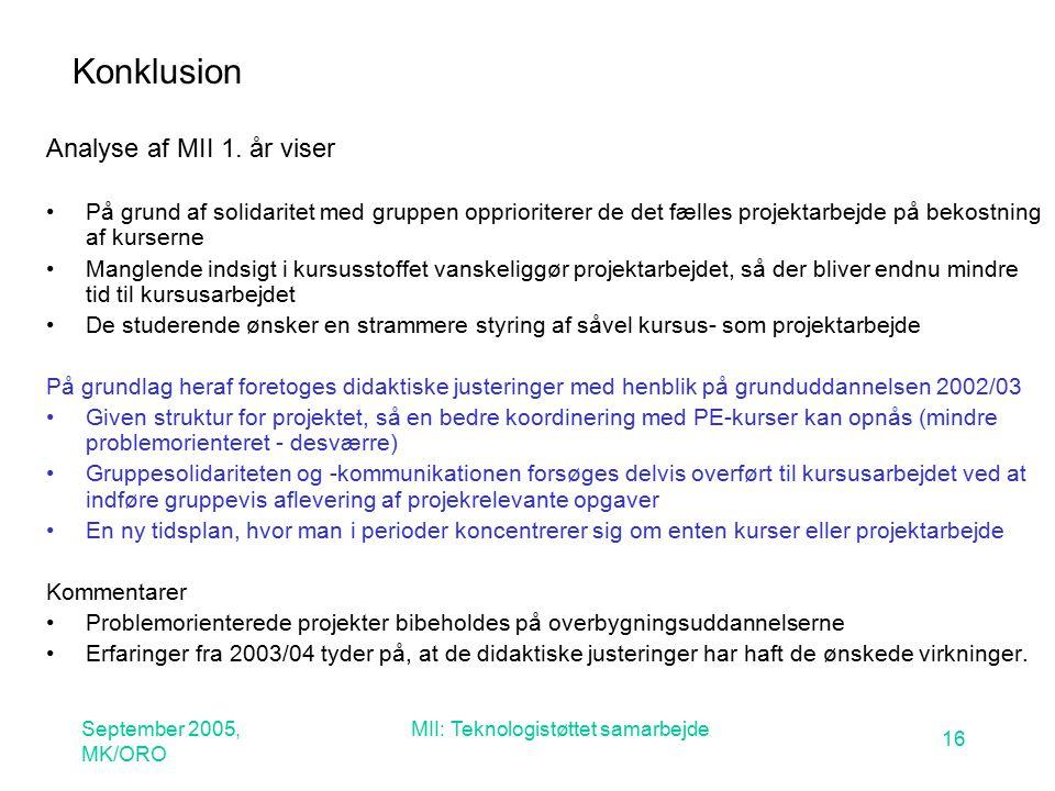 September 2005, MK/ORO MII: Teknologistøttet samarbejde 16 Konklusion Analyse af MII 1.