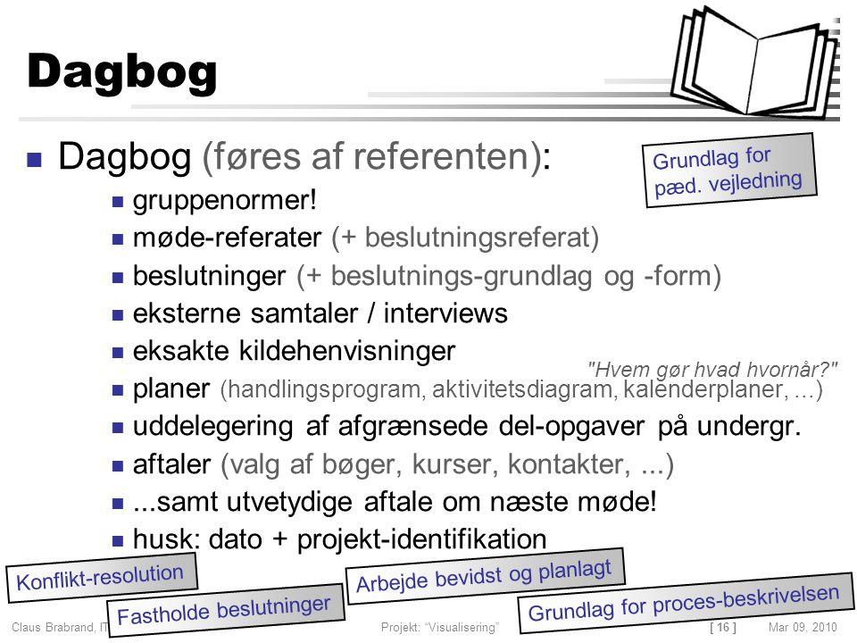[ 16 ] Claus Brabrand, ITU, Denmark Projekt: Visualisering Mar 09, 2010 Dagbog Dagbog (føres af referenten): gruppenormer.