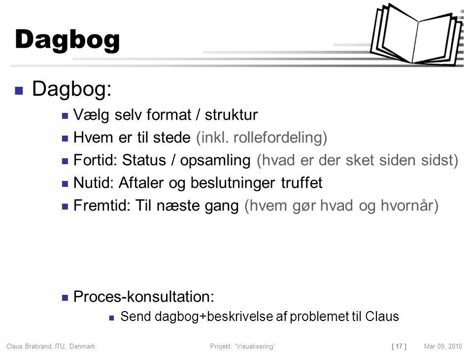 [ 17 ] Claus Brabrand, ITU, Denmark Projekt: Visualisering Mar 09, 2010 Dagbog Dagbog: Vælg selv format / struktur Hvem er til stede (inkl.