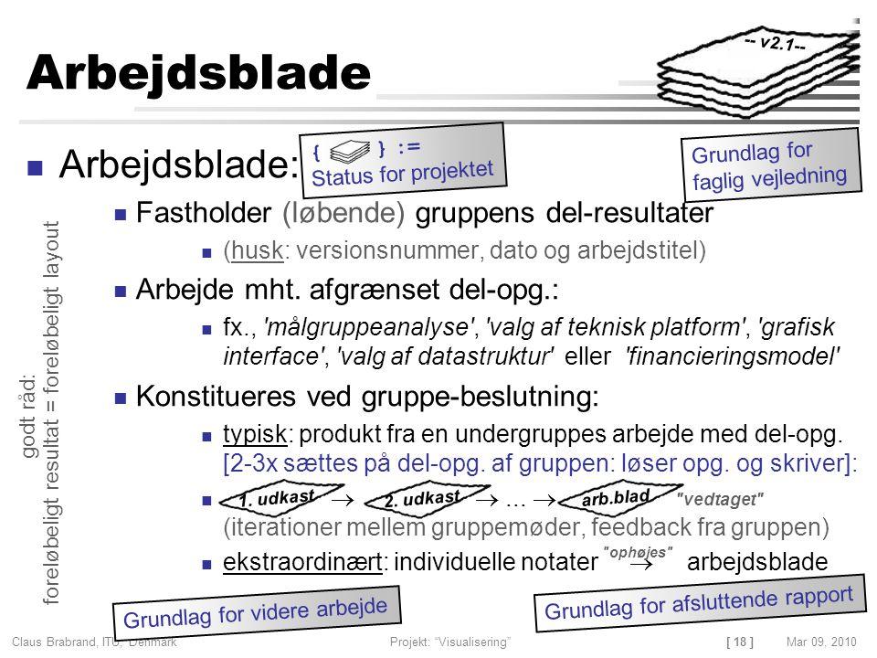 [ 18 ] Claus Brabrand, ITU, Denmark Projekt: Visualisering Mar 09, 2010 Arbejdsblade Arbejdsblade: Fastholder (løbende) gruppens del-resultater (husk: versionsnummer, dato og arbejdstitel) Arbejde mht.