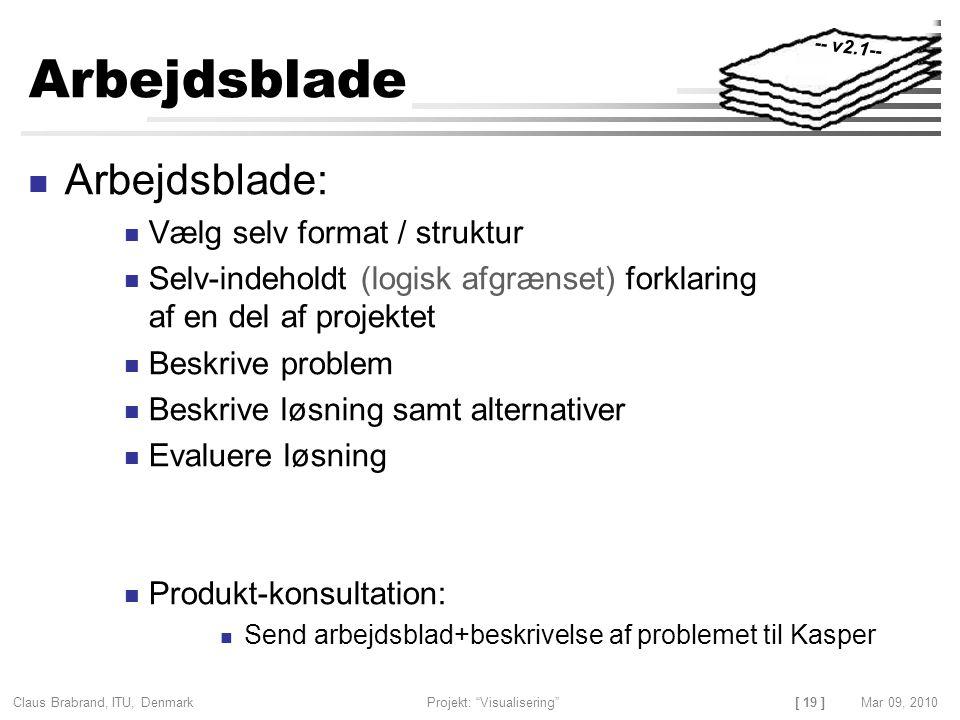[ 19 ] Claus Brabrand, ITU, Denmark Projekt: Visualisering Mar 09, 2010 Arbejdsblade Arbejdsblade: Vælg selv format / struktur Selv-indeholdt (logisk afgrænset) forklaring af en del af projektet Beskrive problem Beskrive løsning samt alternativer Evaluere løsning Produkt-konsultation: Send arbejdsblad+beskrivelse af problemet til Kasper -- v2.1--
