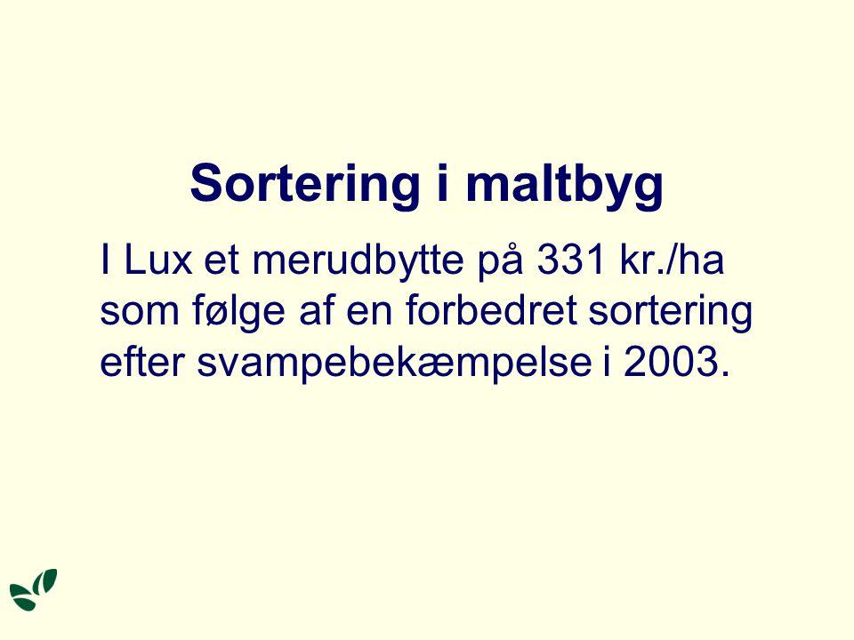 Sortering i maltbyg I Lux et merudbytte på 331 kr./ha som følge af en forbedret sortering efter svampebekæmpelse i 2003.