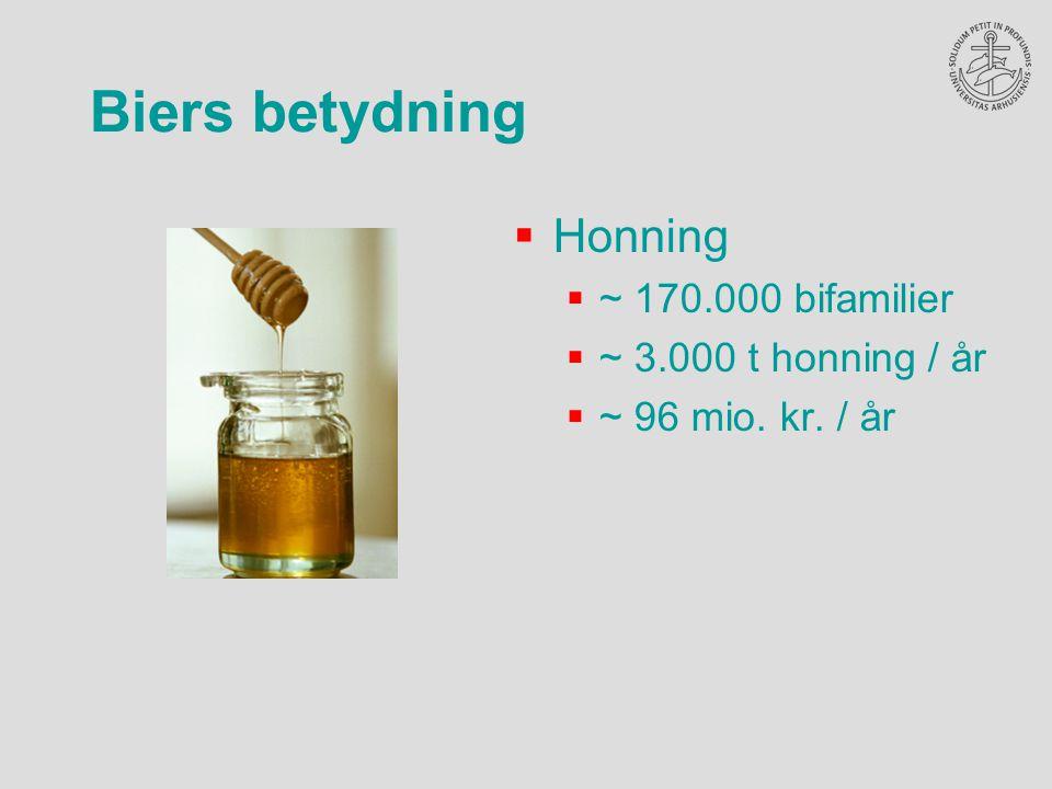 Biers betydning  Honning  ~ 170.000 bifamilier  ~ 3.000 t honning / år  ~ 96 mio. kr. / år