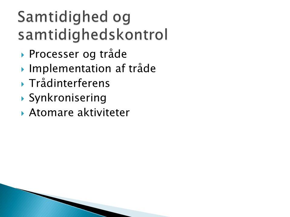  Processer og tråde  Implementation af tråde  Trådinterferens  Synkronisering  Atomare aktiviteter