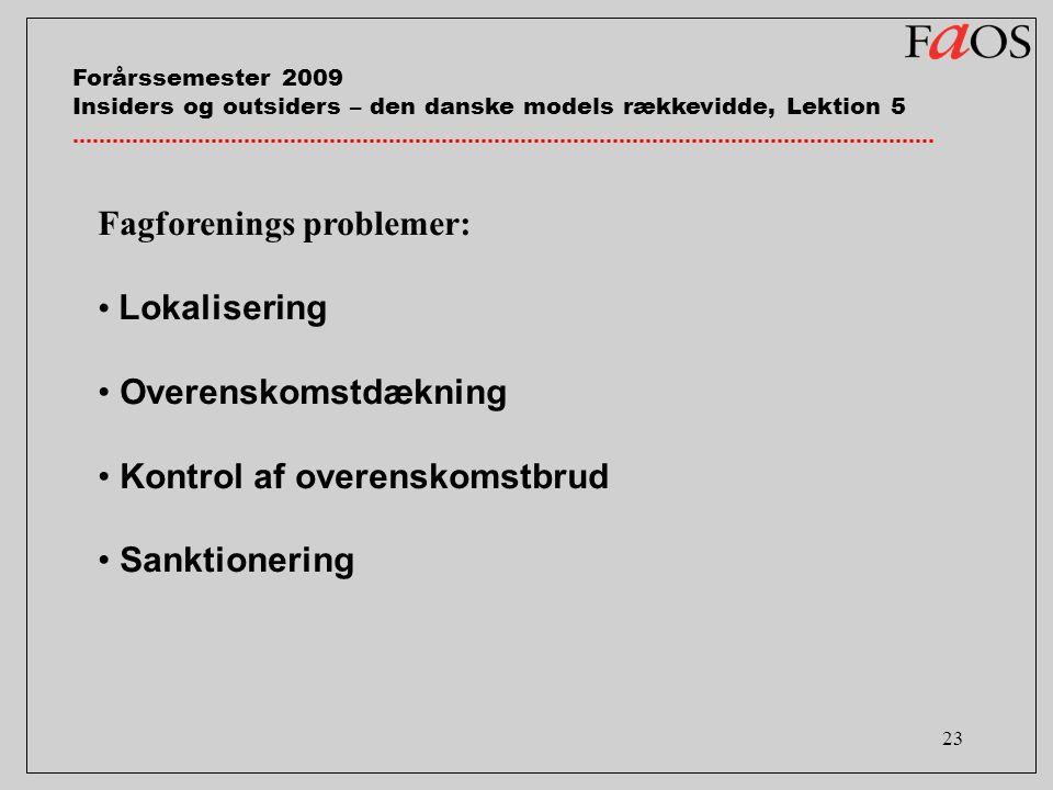23 Fagforenings problemer: Lokalisering Overenskomstdækning Kontrol af overenskomstbrud Sanktionering Forårssemester 2009 Insiders og outsiders – den danske models rækkevidde, Lektion 5