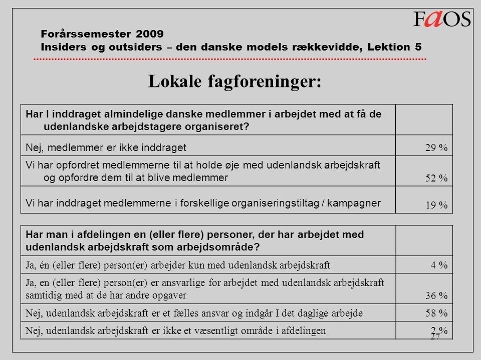 27 Forårssemester 2009 Insiders og outsiders – den danske models rækkevidde, Lektion 5 Har I inddraget almindelige danske medlemmer i arbejdet med at få de udenlandske arbejdstagere organiseret.