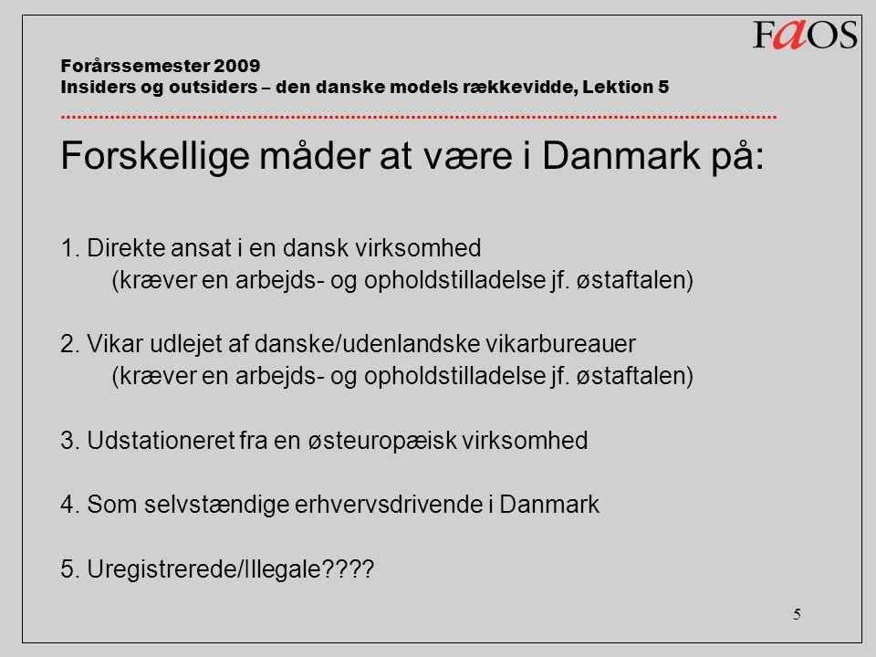 5 Forårssemester 2009 Insiders og outsiders – den danske models rækkevidde, Lektion 5 Forskellige måder at være i Danmark på: 1.