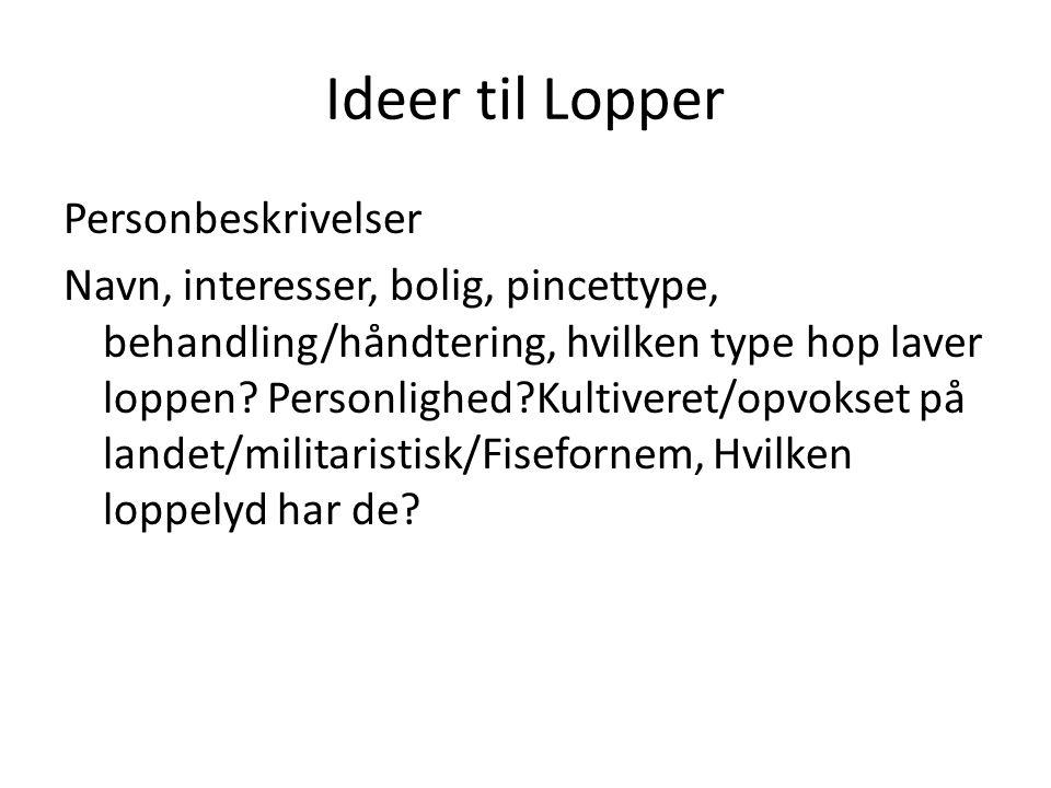 Ideer til Lopper Personbeskrivelser Navn, interesser, bolig, pincettype, behandling/håndtering, hvilken type hop laver loppen.