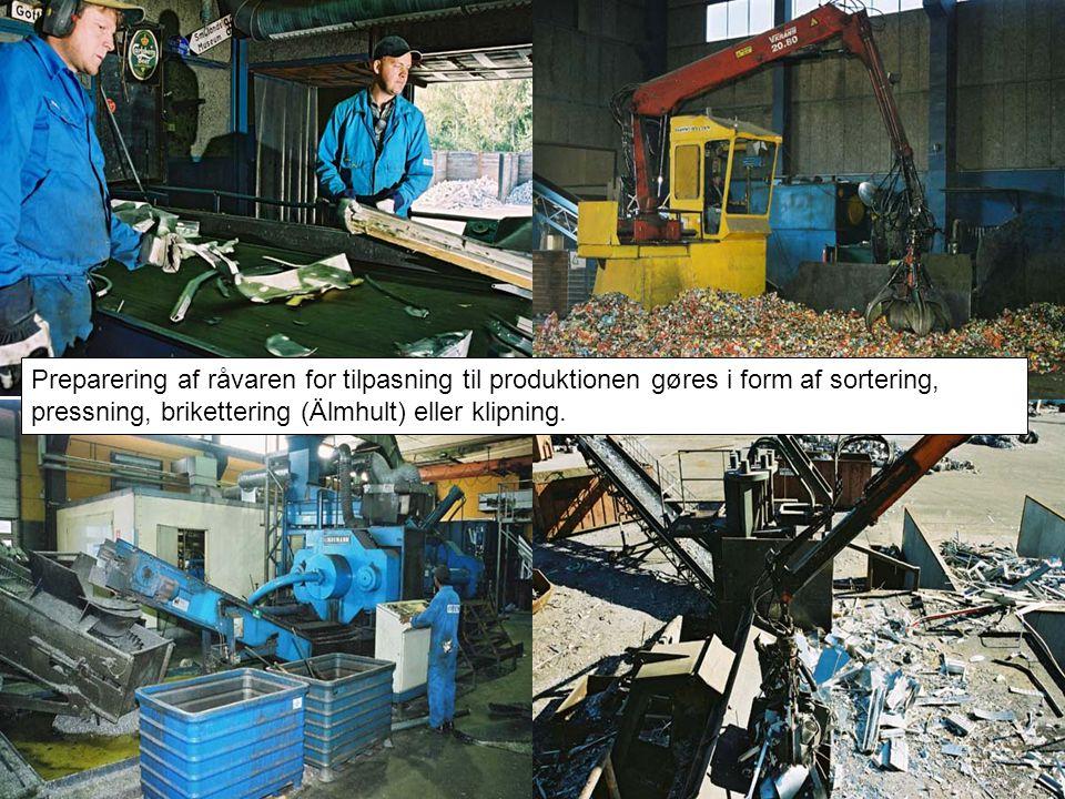 Preparering af råvaren for tilpasning til produktionen gøres i form af sortering, pressning, brikettering (Älmhult) eller klipning.