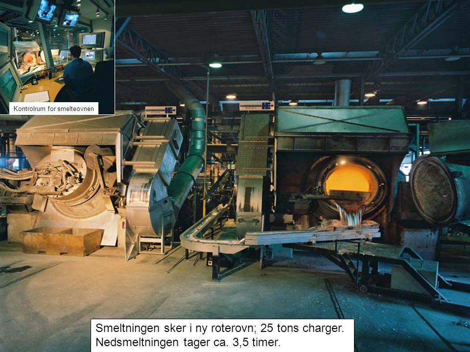 Smeltningen sker i ny roterovn; 25 tons charger. Nedsmeltningen tager ca.