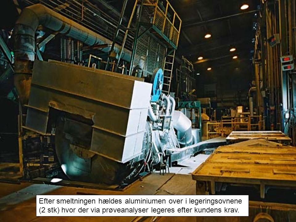 Efter smeltningen hældes aluminiumen over i legeringsovnene (2 stk) hvor der via prøveanalyser legeres efter kundens krav.
