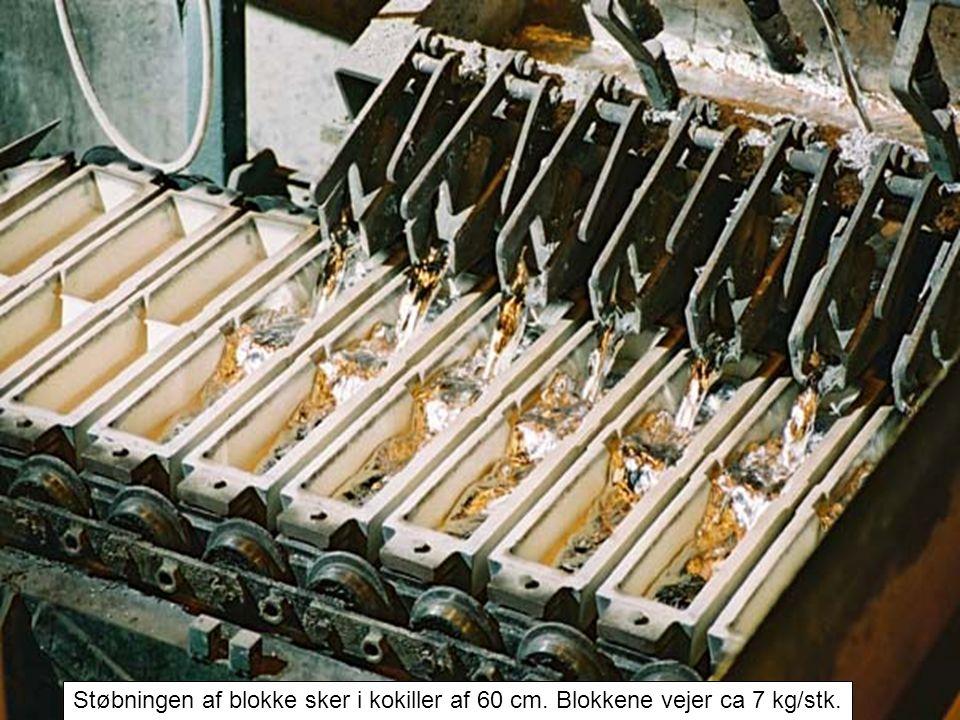 Støbningen af blokke sker i kokiller af 60 cm. Blokkene vejer ca 7 kg/stk.