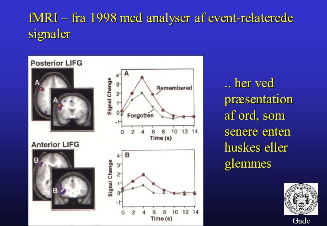 Gade fMRI – fra 1998 med analyser af event-relaterede signaler..