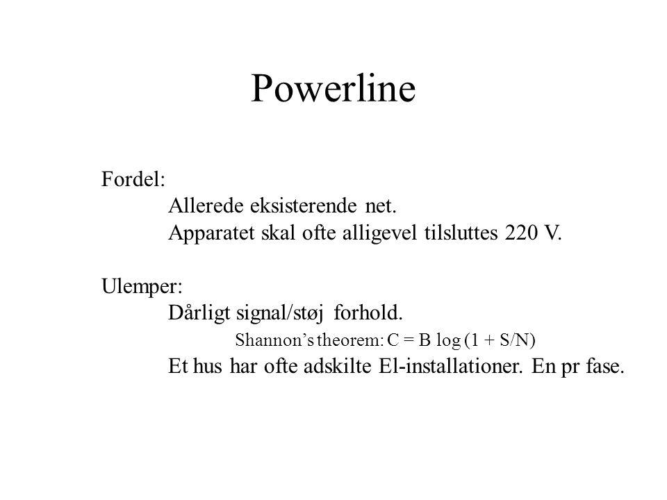 Powerline Fordel: Allerede eksisterende net. Apparatet skal ofte alligevel tilsluttes 220 V.