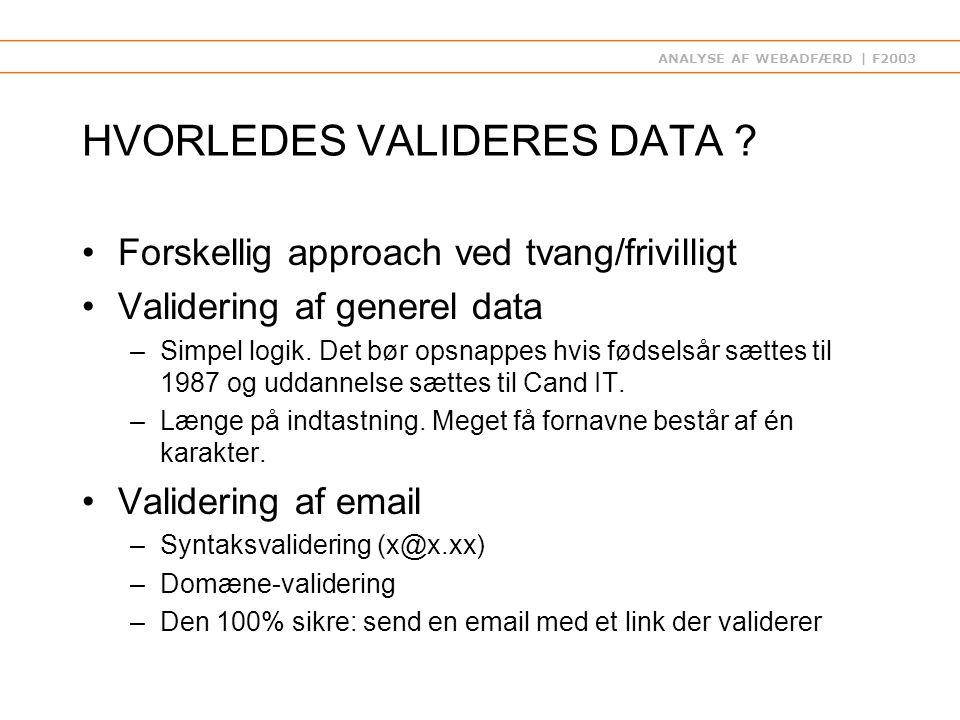 ANALYSE AF WEBADFÆRD | F2003 HVORLEDES VALIDERES DATA .