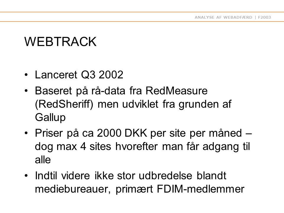 ANALYSE AF WEBADFÆRD | F2003 WEBTRACK Lanceret Q3 2002 Baseret på rå-data fra RedMeasure (RedSheriff) men udviklet fra grunden af Gallup Priser på ca 2000 DKK per site per måned – dog max 4 sites hvorefter man får adgang til alle Indtil videre ikke stor udbredelse blandt mediebureauer, primært FDIM-medlemmer