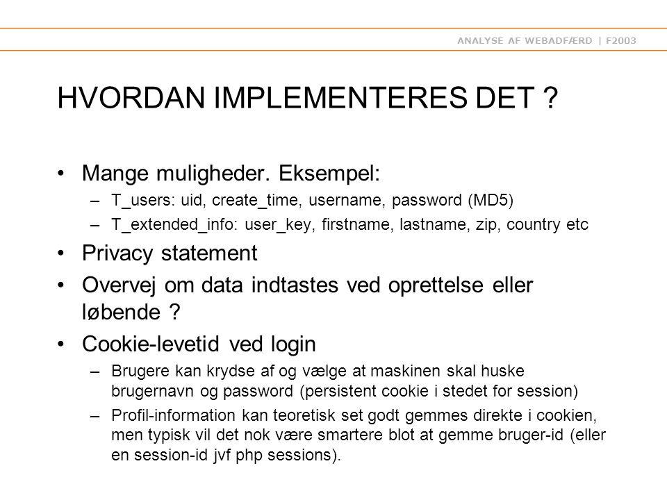 ANALYSE AF WEBADFÆRD | F2003 HVORDAN IMPLEMENTERES DET .