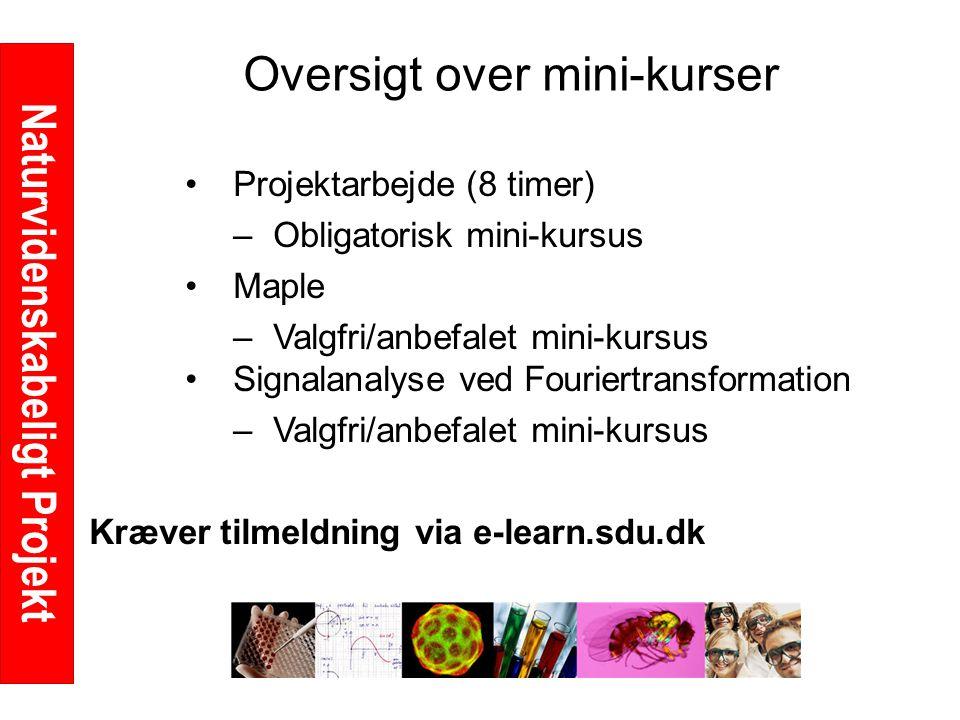 Naturvidenskabeligt Projekt Oversigt over mini-kurser Projektarbejde (8 timer) –Obligatorisk mini-kursus Maple –Valgfri/anbefalet mini-kursus Signalanalyse ved Fouriertransformation –Valgfri/anbefalet mini-kursus Kræver tilmeldning via e-learn.sdu.dk