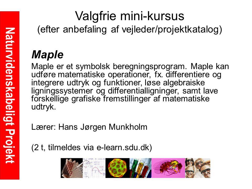 Naturvidenskabeligt Projekt Valgfrie mini-kursus (efter anbefaling af vejleder/projektkatalog) Maple Maple er et symbolsk beregningsprogram.