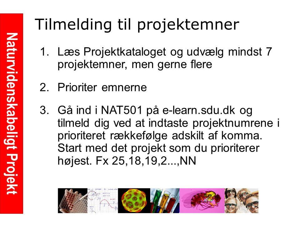 Naturvidenskabeligt Projekt Tilmelding til projektemner 1.Læs Projektkataloget og udvælg mindst 7 projektemner, men gerne flere 2.Prioriter emnerne 3.Gå ind i NAT501 på e-learn.sdu.dk og tilmeld dig ved at indtaste projektnumrene i prioriteret rækkefølge adskilt af komma.