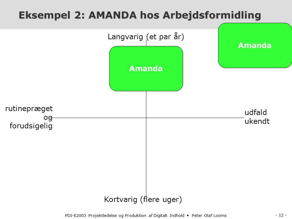 - 12 - PDI-E2003 Projektledelse og Produktion af Digitalt Indhold Peter Olaf Looms Eksempel 2: AMANDA hos Arbejdsformidling Eksempel 2: AMANDA hos Arbejdsformidling Kortvarig (flere uger) Langvarig (et par år) rutinepræget og forudsigelig udfald ukendt Amanda
