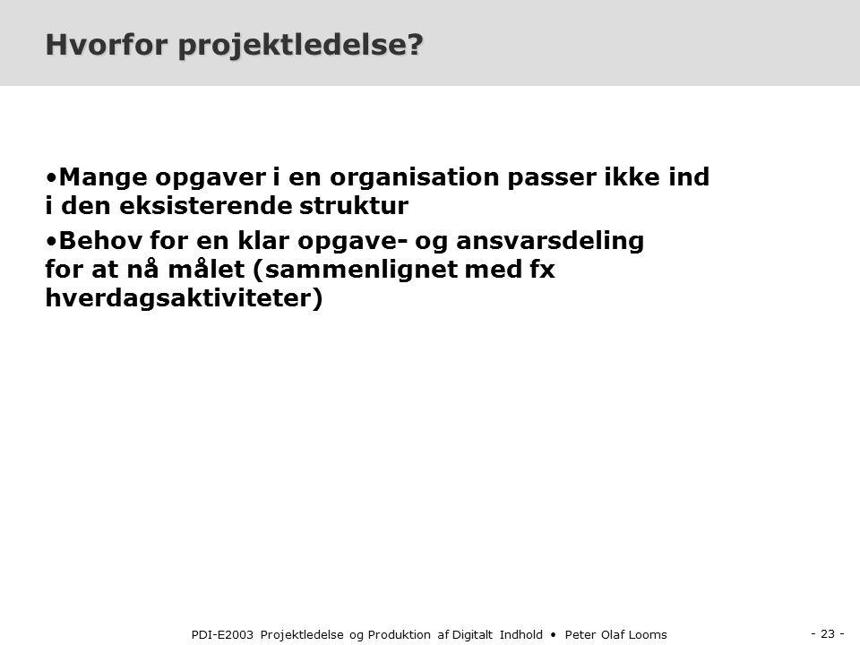 - 23 - PDI-E2003 Projektledelse og Produktion af Digitalt Indhold Peter Olaf Looms Hvorfor projektledelse.