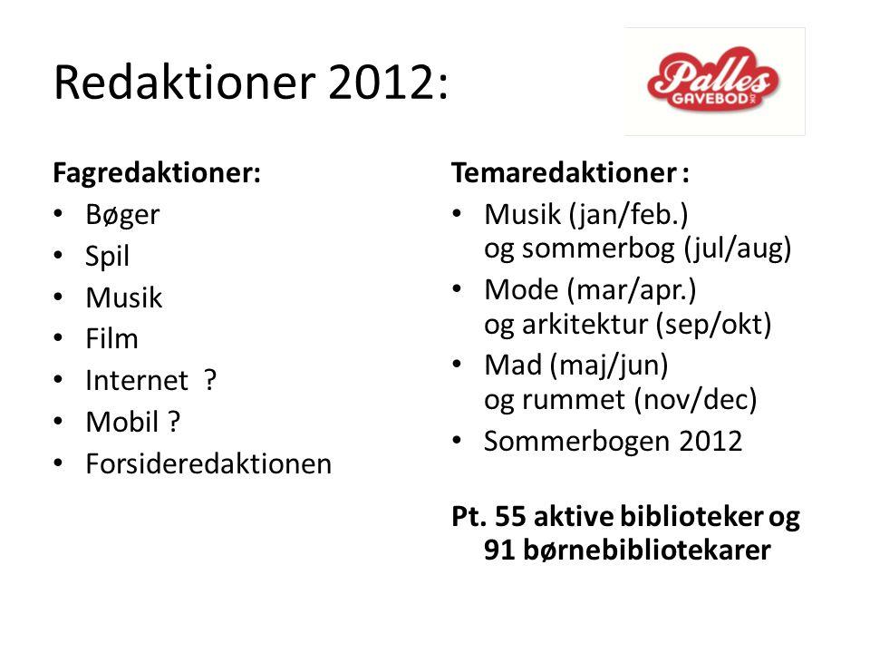 Redaktioner 2012: Fagredaktioner: Bøger Spil Musik Film Internet .