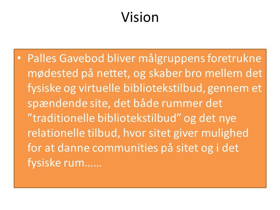 Vision Palles Gavebod bliver målgruppens foretrukne mødested på nettet, og skaber bro mellem det fysiske og virtuelle bibliotekstilbud, gennem et spændende site, det både rummer det traditionelle bibliotekstilbud og det nye relationelle tilbud, hvor sitet giver mulighed for at danne communities på sitet og i det fysiske rum……