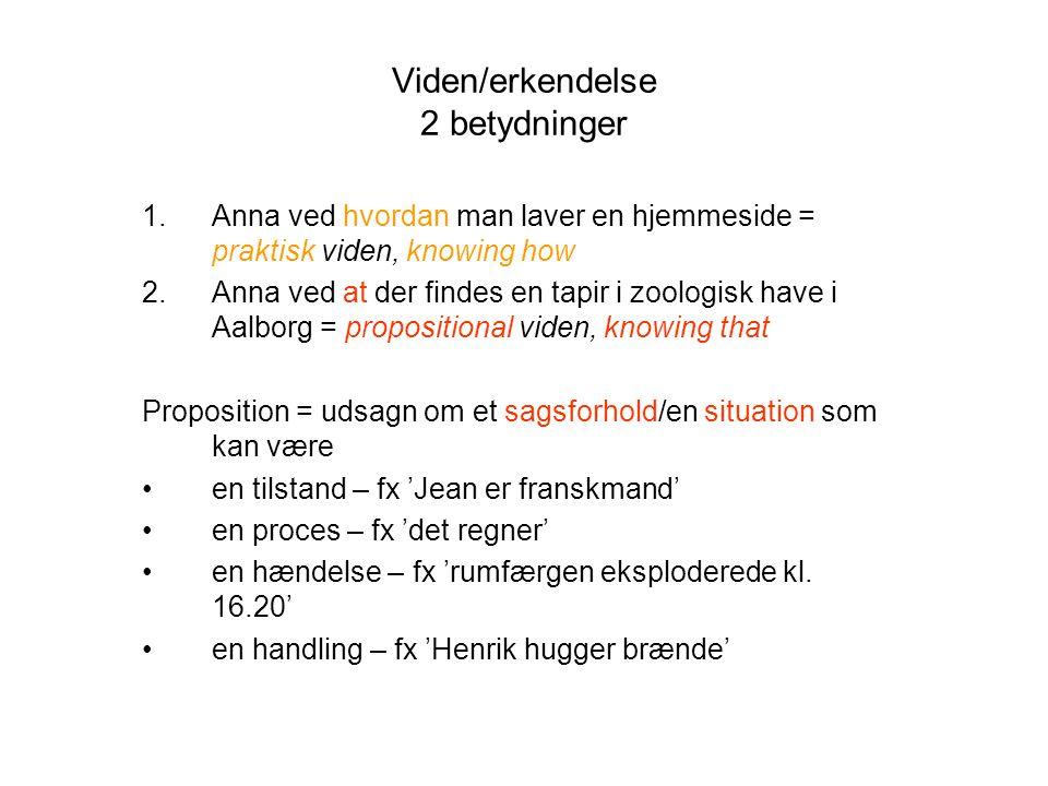 Viden/erkendelse 2 betydninger 1.Anna ved hvordan man laver en hjemmeside = praktisk viden, knowing how 2.Anna ved at der findes en tapir i zoologisk have i Aalborg = propositional viden, knowing that Proposition = udsagn om et sagsforhold/en situation som kan være en tilstand – fx 'Jean er franskmand' en proces – fx 'det regner' en hændelse – fx 'rumfærgen eksploderede kl.