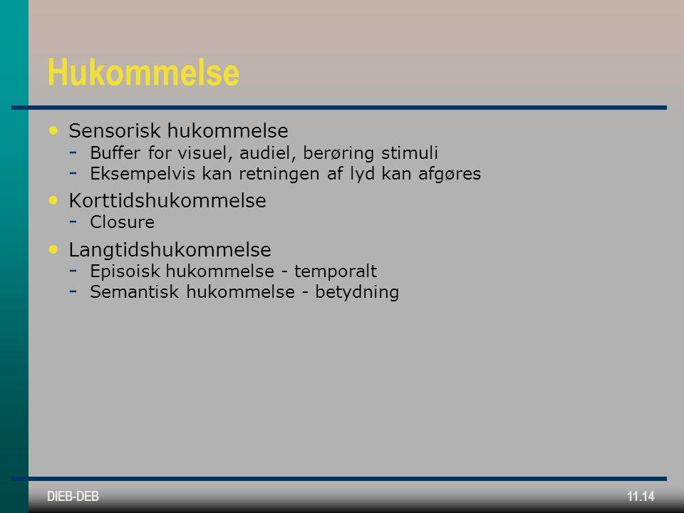 DIEB-DEB11.14 Hukommelse Sensorisk hukommelse  Buffer for visuel, audiel, berøring stimuli  Eksempelvis kan retningen af lyd kan afgøres Korttidshukommelse  Closure Langtidshukommelse  Episoisk hukommelse - temporalt  Semantisk hukommelse - betydning