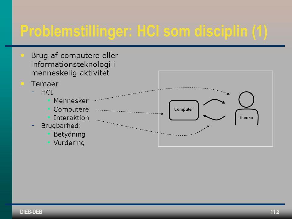 DIEB-DEB11.2 Problemstillinger: HCI som disciplin (1) Brug af computere eller informationsteknologi i menneskelig aktivitet Temaer  HCI Mennesker Computere Interaktion  Brugbarhed: Betydning Vurdering Computer Human