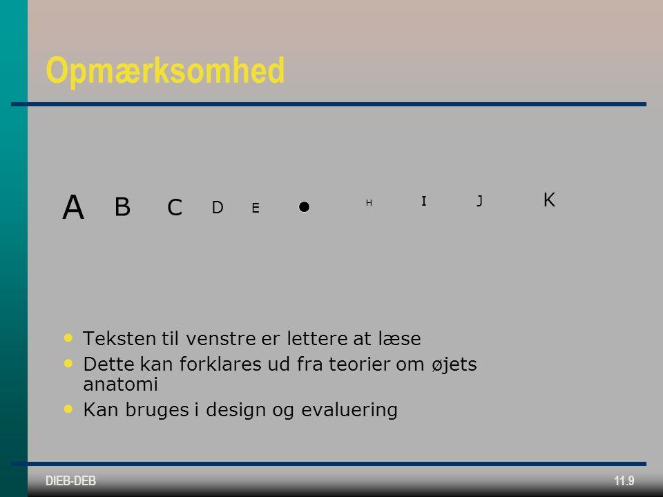 DIEB-DEB11.9 Opmærksomhed Teksten til venstre er lettere at læse Dette kan forklares ud fra teorier om øjets anatomi Kan bruges i design og evaluering J I K H E D C B A