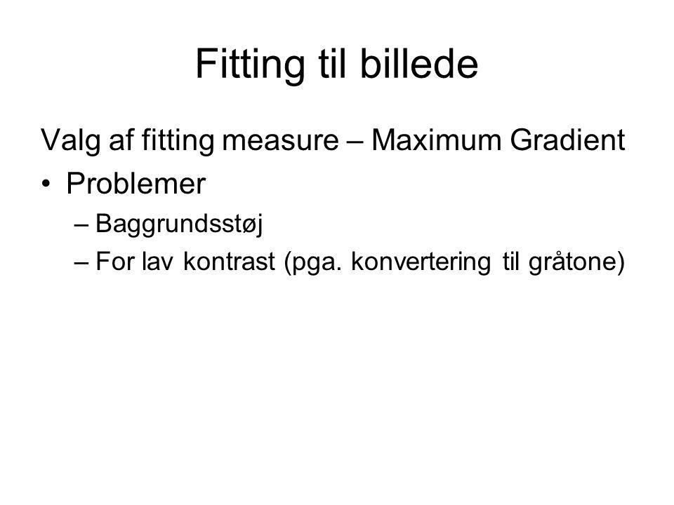 Fitting til billede Valg af fitting measure – Maximum Gradient Problemer –Baggrundsstøj –For lav kontrast (pga.