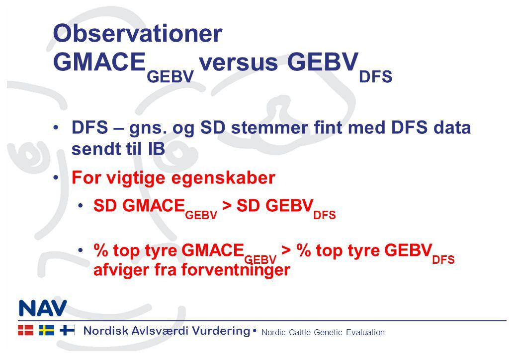 Nordisk Avlsværdi Vurdering Nordic Cattle Genetic Evaluation Observationer GMACE GEBV versus GEBV DFS DFS – gns.