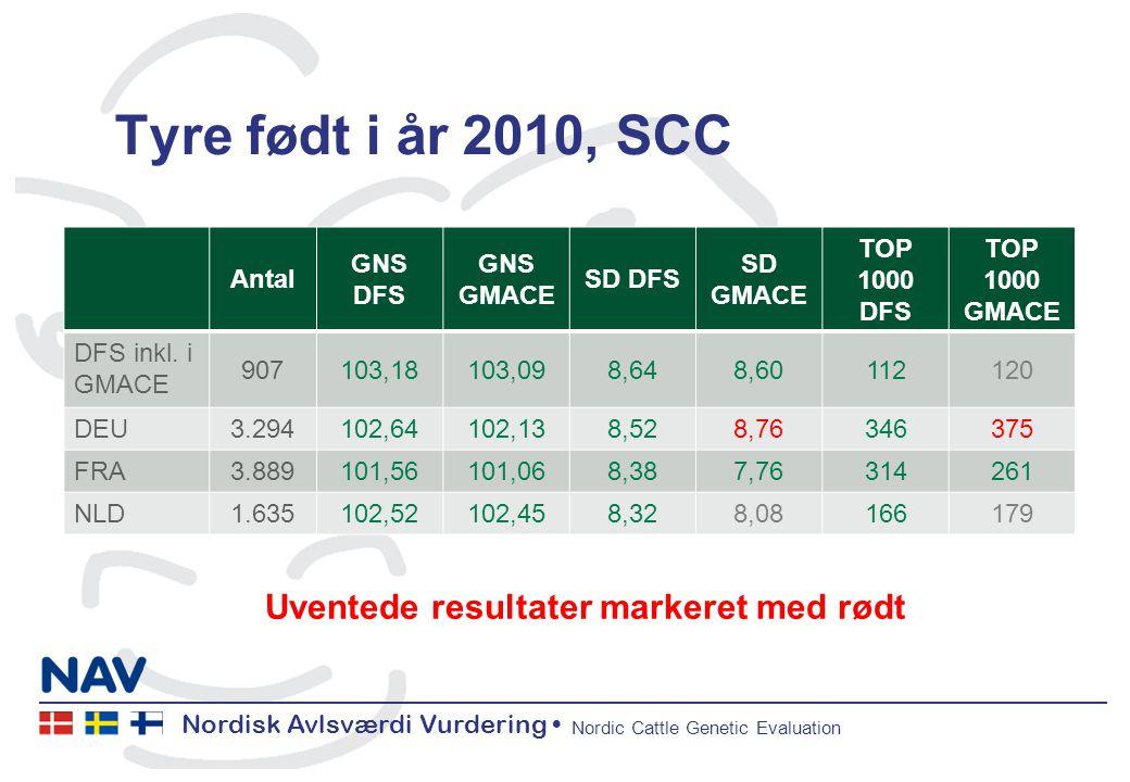 Nordisk Avlsværdi Vurdering Nordic Cattle Genetic Evaluation Tyre født i år 2010, SCC Antal GNS DFS GNS GMACE SD DFS SD GMACE TOP 1000 DFS TOP 1000 GMACE DFS inkl.