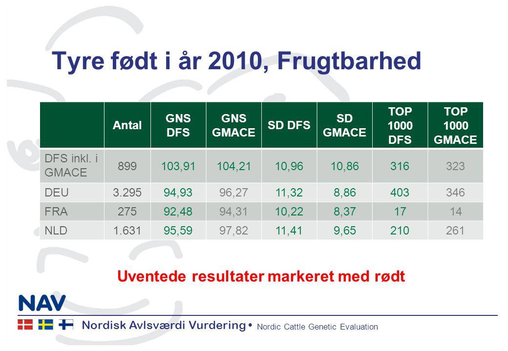 Nordisk Avlsværdi Vurdering Nordic Cattle Genetic Evaluation Tyre født i år 2010, Frugtbarhed Antal GNS DFS GNS GMACE SD DFS SD GMACE TOP 1000 DFS TOP 1000 GMACE DFS inkl.