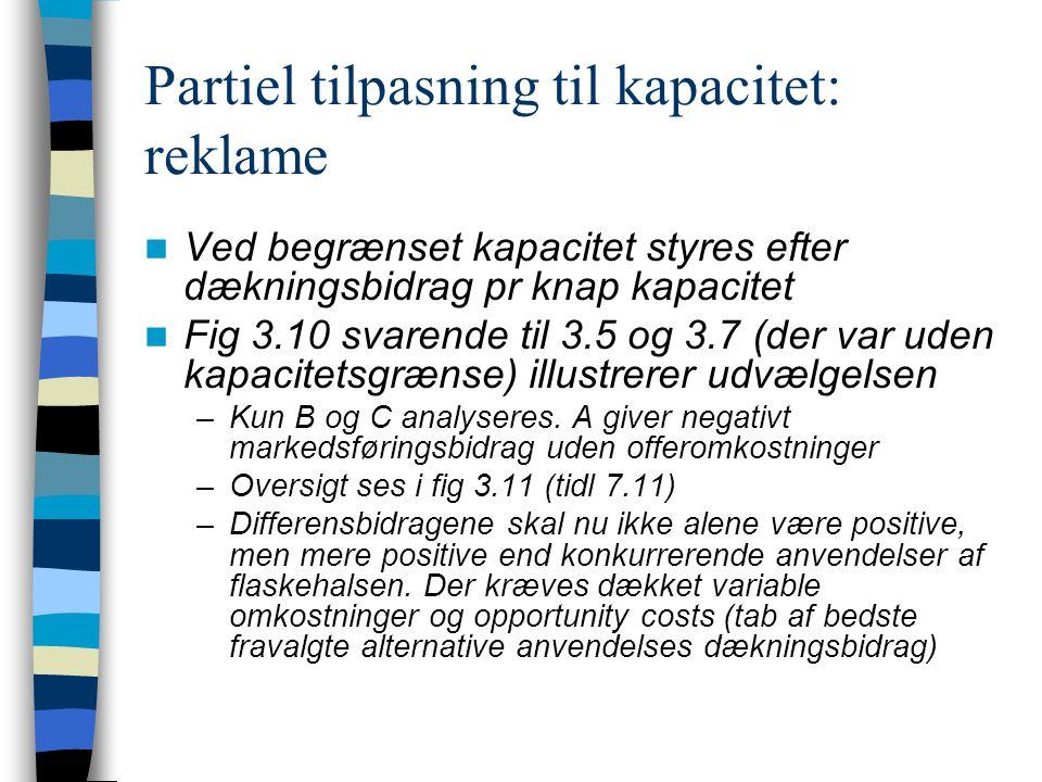 Partiel tilpasning til kapacitet: reklame Ved begrænset kapacitet styres efter dækningsbidrag pr knap kapacitet Fig 3.10 svarende til 3.5 og 3.7 (der var uden kapacitetsgrænse) illustrerer udvælgelsen –Kun B og C analyseres.