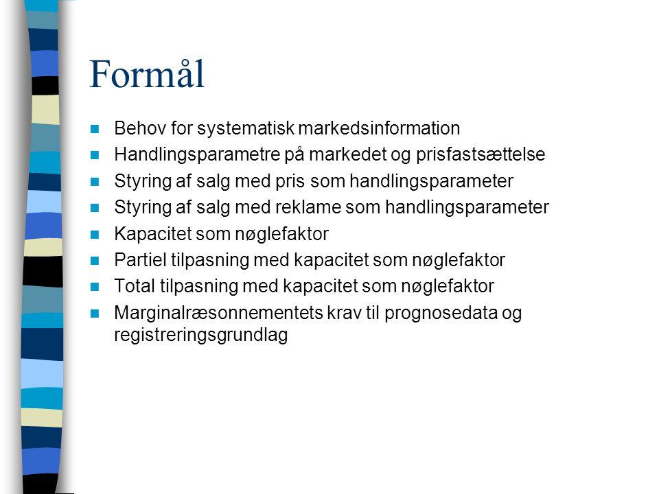 Formål Behov for systematisk markedsinformation Handlingsparametre på markedet og prisfastsættelse Styring af salg med pris som handlingsparameter Styring af salg med reklame som handlingsparameter Kapacitet som nøglefaktor Partiel tilpasning med kapacitet som nøglefaktor Total tilpasning med kapacitet som nøglefaktor Marginalræsonnementets krav til prognosedata og registreringsgrundlag