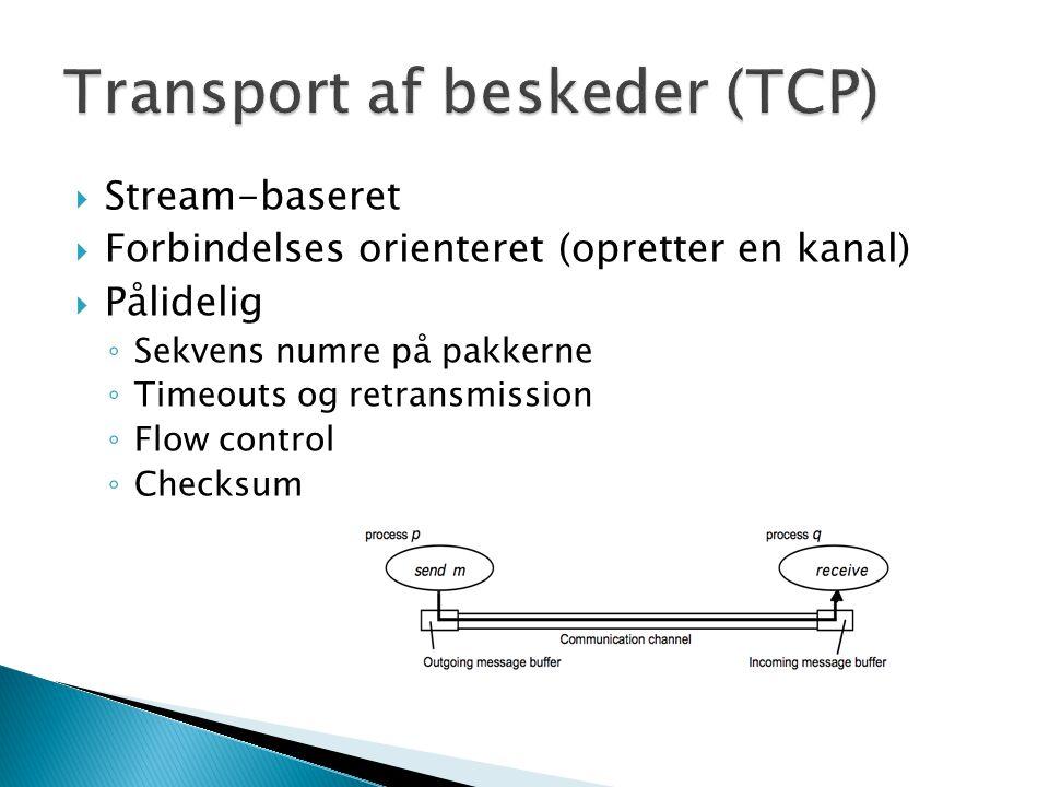  Stream-baseret  Forbindelses orienteret (opretter en kanal)  Pålidelig ◦ Sekvens numre på pakkerne ◦ Timeouts og retransmission ◦ Flow control ◦ Checksum