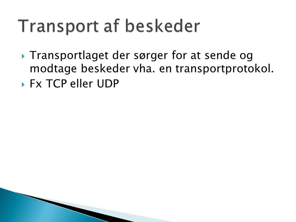  Transportlaget der sørger for at sende og modtage beskeder vha.
