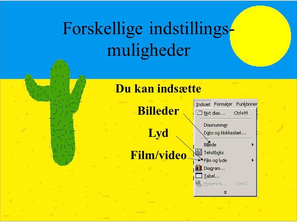 Forskellige indstillings- muligheder Du kan indsætte Billeder Lyd Film/video