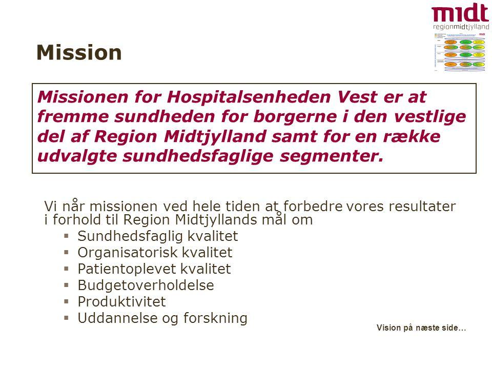 Mission Vi når missionen ved hele tiden at forbedre vores resultater i forhold til Region Midtjyllands mål om  Sundhedsfaglig kvalitet  Organisatorisk kvalitet  Patientoplevet kvalitet  Budgetoverholdelse  Produktivitet  Uddannelse og forskning Vision på næste side… Missionen for Hospitalsenheden Vest er at fremme sundheden for borgerne i den vestlige del af Region Midtjylland samt for en række udvalgte sundhedsfaglige segmenter.